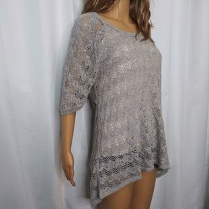 Anthro Knitted& Knotted Gray Open Weave Sweater/ L